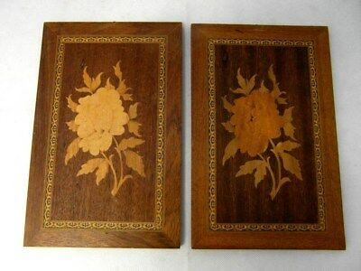 """x2 Vintage Inlaid Marquetry Wooden AUGUSTO """"Sorrento Ware"""" Wall Plaques 9.5""""x6"""""""