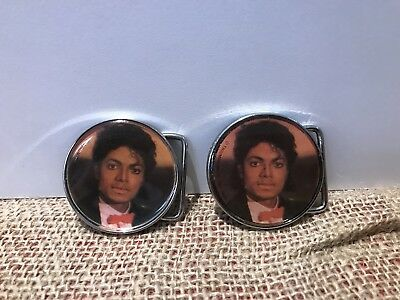 Michael Jackson x2 Vintage 1984 Belt Buckle. Thriller / Billie Jean. Lee Jeans.