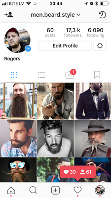 Instagram account 17k about Men Beards. Real people. HQ.