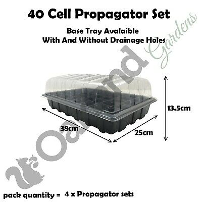 4 X Full Size Propagator Set Lids Seed Trays + 40 Cell Inserts With or No Holes