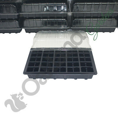 4 X Full Size Propagator Set Lids Seed Trays + 50 Cell Inserts With or No Holes