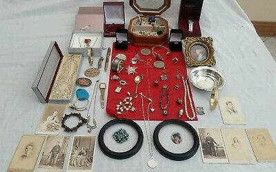 Fab Solid Silver,vintage,costume Jewellery,victorian Photos,coin,jewellery Boxes