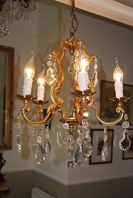 lovely old french crystal /bronze chandelier