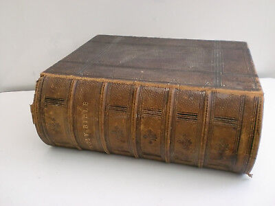 Holy Bible 1864 Large Leather Bound Old & New Testaments Priests Family Details