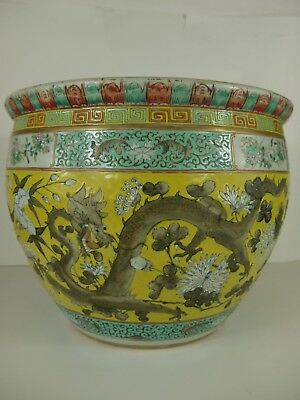 Large Famille Juane fish bowl with dragons.  Guangxu late C19th.