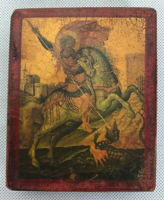 Greek Small Wooden Religious Icon St. George