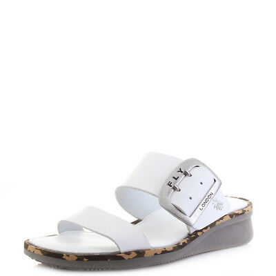 03271d4b7d8f Womens Fly London Cape Brooklyn Off White Slip On Low Wedge Sandals Shu Size