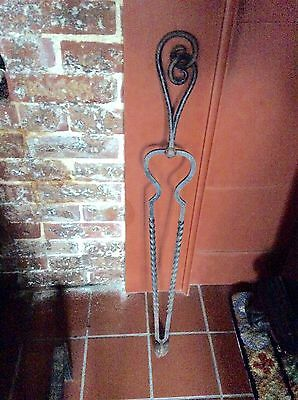 Early Antique Primitive Hand Forged Wrought Iron Fireplace Hearth Tongs Tools