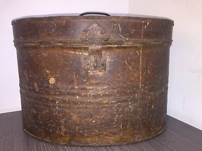 VINTAGE or ANTIQUE OVAL METAL HAT BOX in Original Unrestored Condition.