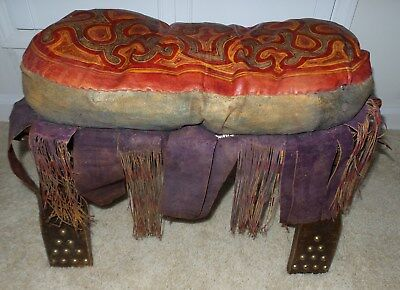 Antique Wood Camel Sadle Brass Studs Foot Stool With Leather Fringe Cushion