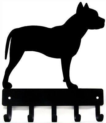 Pit Bull Terrier Dog Leash Hanger Metal  Wall Key Rack Holder 5 Hooks Sm 6""