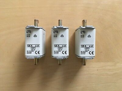 125Amp NH 00 DIN FUSES Set of 3