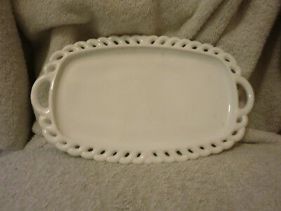 Vintage Milk Glass Oblong Plate Tray -Handles- Open Lace Scalloped Edge