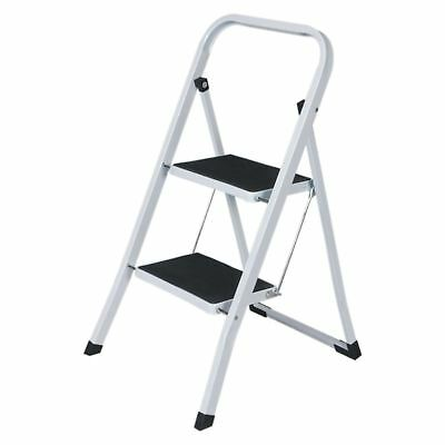 2 Step Folding Portable Heavy Duty Strong Non-Slip Safety Tread Steel Ladder