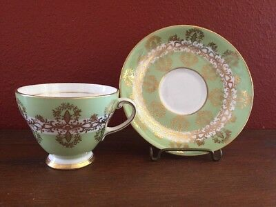Royal Grafton Tea Cup And Saucer Green With Gold Trim England Fine Bone China