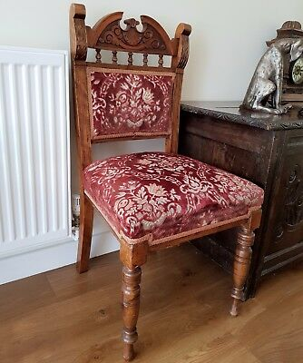 SET OF 4 ANTIQUE DINING CHAIRS...lovely quality, solid wood, embossed upholstery