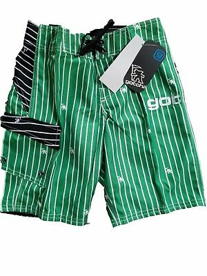Job Lot Of 9 Pairs Of Boys Green Striped Swimming/board Shorts By Gotcha Tagged