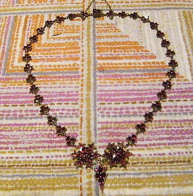 Antik Historismus um 1880 Granat Silber Collier Kette Antique Garnet Necklace