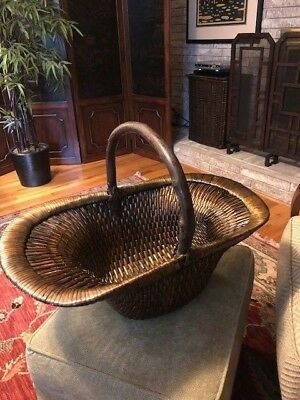 Gump's Antique Chinese Woven Willow Basket, Perfect Condition, 50% OFF