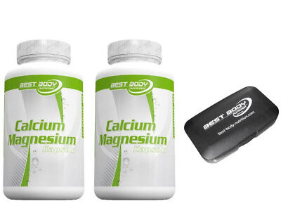 2 x Best Body Nutrition Calcium Magnesium 100 Kapseln Mineralien + Tablettendose