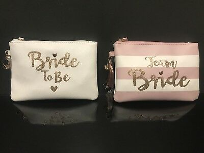 BNWT BRIDE TO BE / TEAM BRIDE Glitter Cosmetic Make Up Bag purse pink/white cute