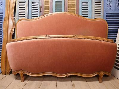 VINTAGE UPHOLSTERED KING SIZE FRENCH BED - 160cm wide - g32