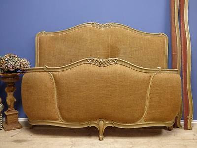 VINTAGE UPHOLSTERED KING SIZE FRENCH BED - Older Example - Stripped down- ha15