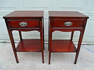 Pair of Earlier 1900s Mahogany Single Drawer Side End Tables Night Stands