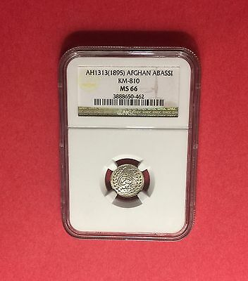 Afghanistan -Unc 1895 (Ah 1313)Abbasi -Certified By Ngc Ms-66..rare Grading.