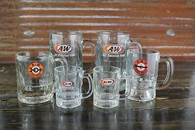 Vintage Lot A & W Rootbeer Root Beer Glass Mugs 6 Total 2 Lg, 2 Md, 2 Sm