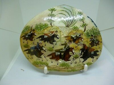 Antique Hand Painted on Mother of Pearl Shell Persian/Indian Polo Match