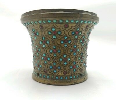 Antique 19th C. Ottoman Persian Brass Hookah Cup over 200 turquoise, 69 garnets