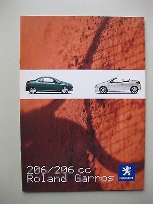 Peugeot 206CC 206  Roland Garros brochure depliant Prospekt Dutch text 16 pages