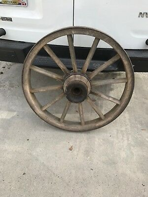 """Large Antique Oak Wood Wagon Wheel With Steel Band and Both Hubs 38"""" Barn Find"""