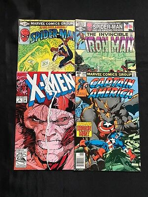 Lot Of 4 Marvel Variety Lot Comic Books X-Men, The Invincible Iron Man, Etc. *