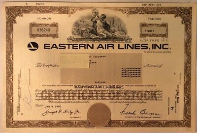1980 Eastern Air Lines, Inc Stock Certificate Airline Aviation Airplane Aircraft