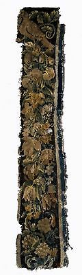 A Long Antique Tapestry Fragment with Bird on Top
