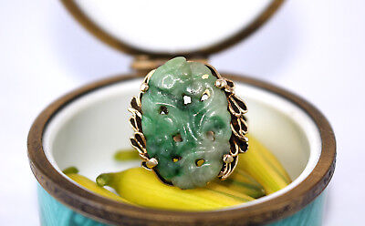 Vintage Chinese Gold And Carved Jade Jadeite Ring 14k Yellow Gold Size 5