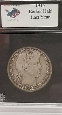 1915  Fine+  Barber Half Dollar   LITY and most of B,E,R  In Case