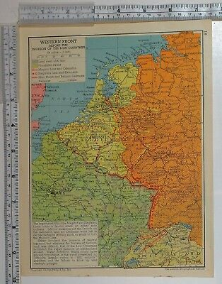 1941 Ww2 Map Western Front Before Invasion Maginot Line Dutch Belgian Defences