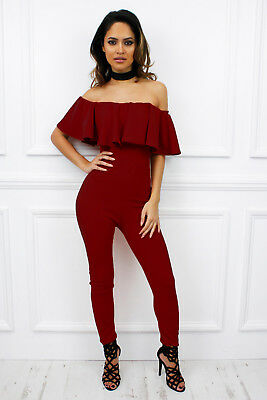 b068661c765 UK New Off Shoulder Bardot Ruffle Frill Skinny Leg Jumpsuit Romper Glamzam