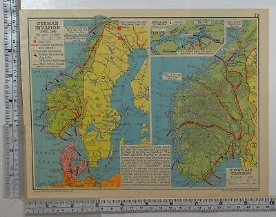 1941 Ww2 Map German Invasion 1940 Landings & Attacks Norway Sweden Campaign