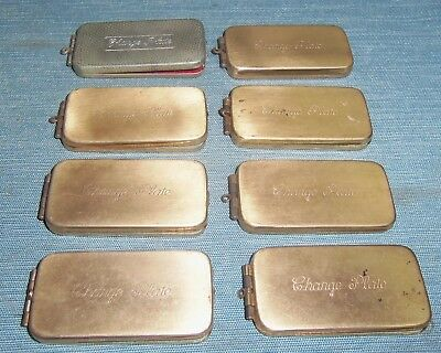 Vintage Brass Charge Plate Credit Card Key Ring Holders LOT OF 8