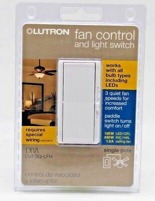 Lutron DVFSQ-LFH-WH Diva Fan And Light Switch, Plastic, White, 1.5 Amps. NEW