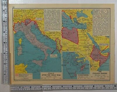 1941 Ww2 Map Italy After Great War Treaty Of London ~ Italian Empire Africa