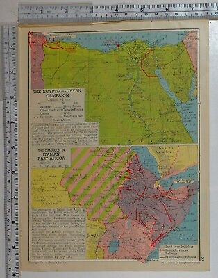 1941 Ww2 Map Egyptian-Libyan Campaign British ~ Italian East Africa Advances