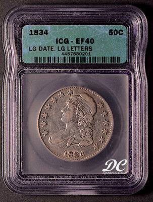 1834 Capped Bust Half Dollar Large Date Large Letters ~ ICG Graded EF40 ~ NR!!!