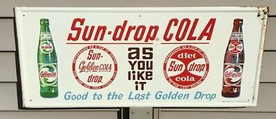 Vintage Sun Drop Cola Tin Sign Embossed