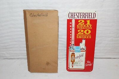 Vintage 1950's Chesterfield Cigarettes Embossed Metal Thermometer Sign~Nice