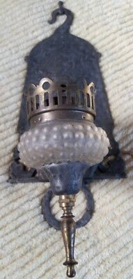 Vintage Arts & Crafts Bungalow Hammered Metal & Hobnail Shade Wall Sconce Light